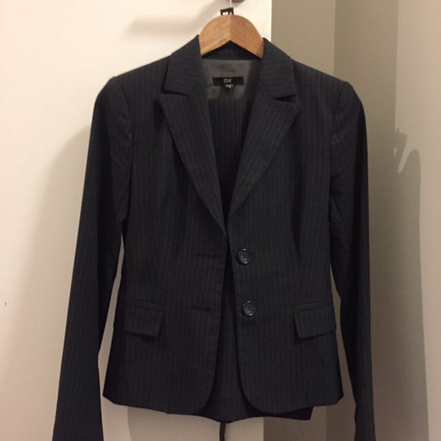 Cue Charcoal Grey Pinstripe Suit