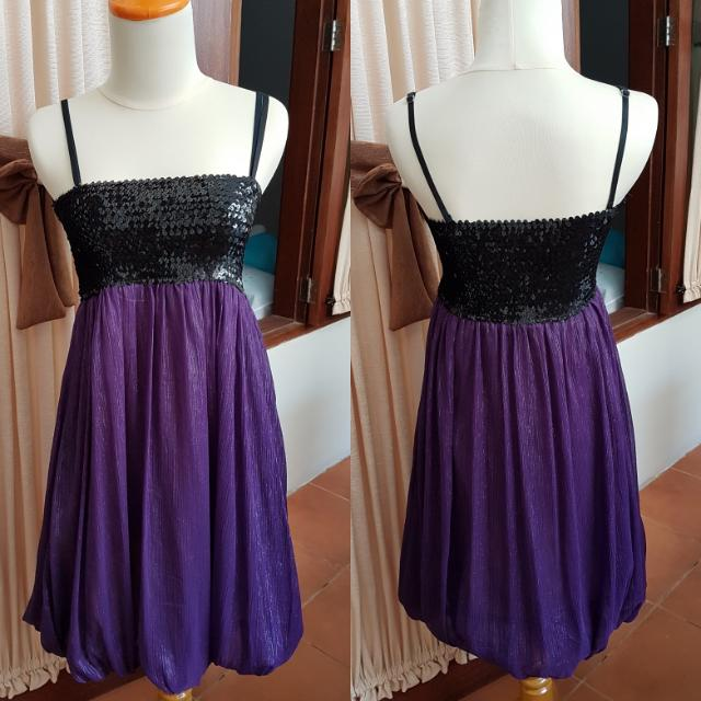 Dress Party Black Purple Sequin