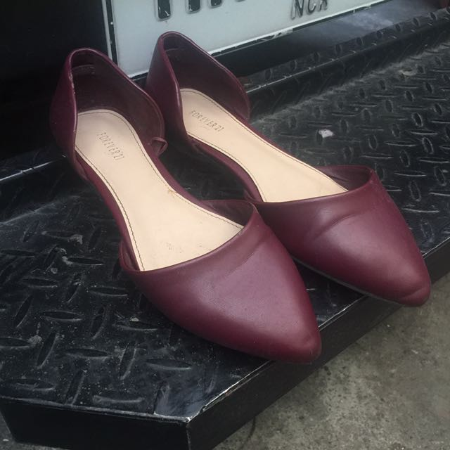 F21 Maroon Pointed Doll Shoes