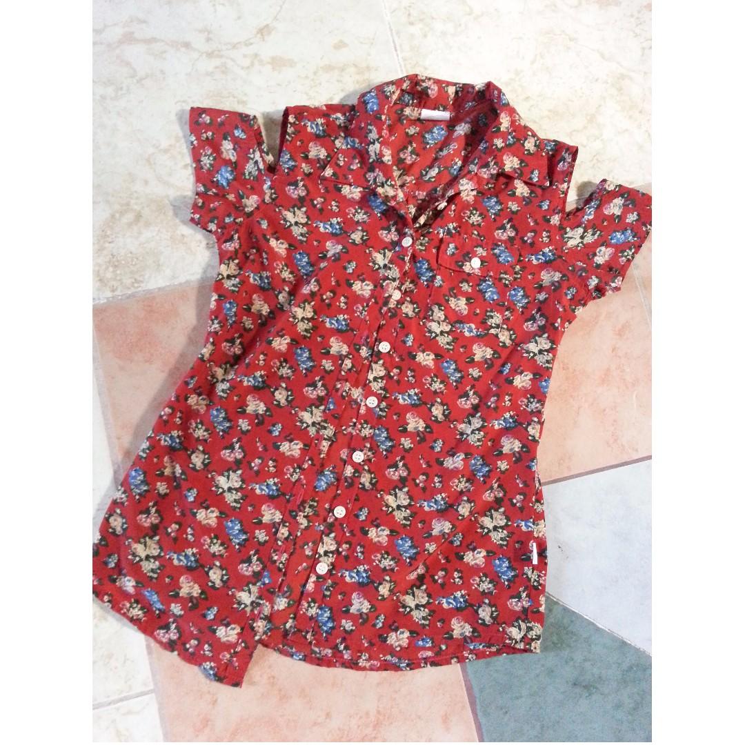 Floral off-shoulder blouse