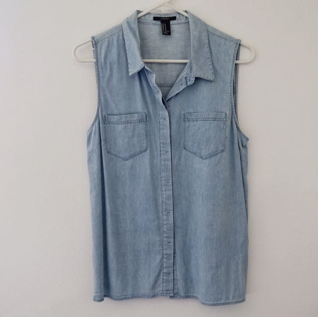 Forever 21 Denim Polo Sleeveless