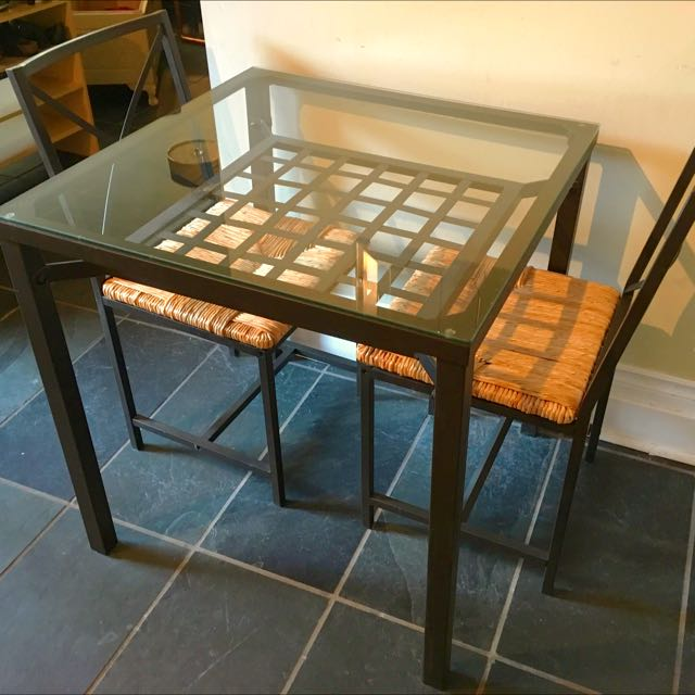 Glass Dining Table Set With Two Chairs