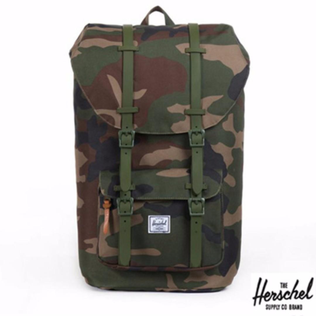 Herschel Retreat Woodlands Camo 森林 迷彩 帆布 防潑水 橡膠帶子 束口 厚筆電層 中型 後背包