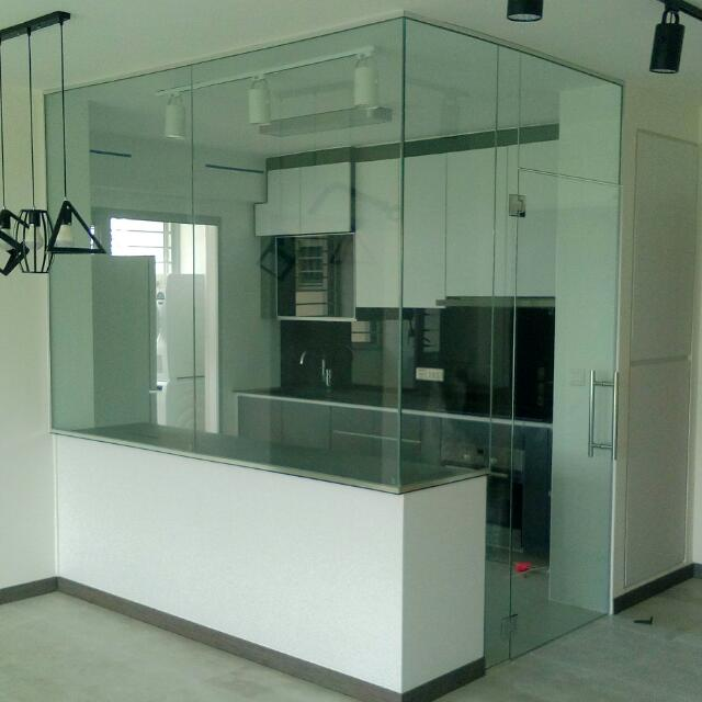 Tempered Glass Kitchen Panel And Swing Door, Home Services