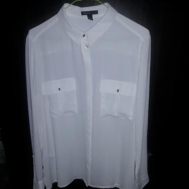 Mango White Button Up