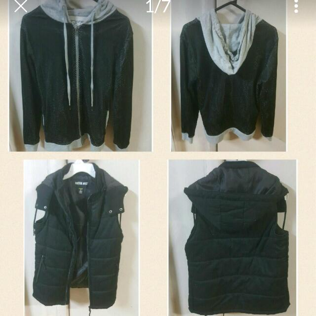 mens vests and jackets. Sz s-m. Worn once or twice in excellent condition. Heaps more mens clothes in other listings.