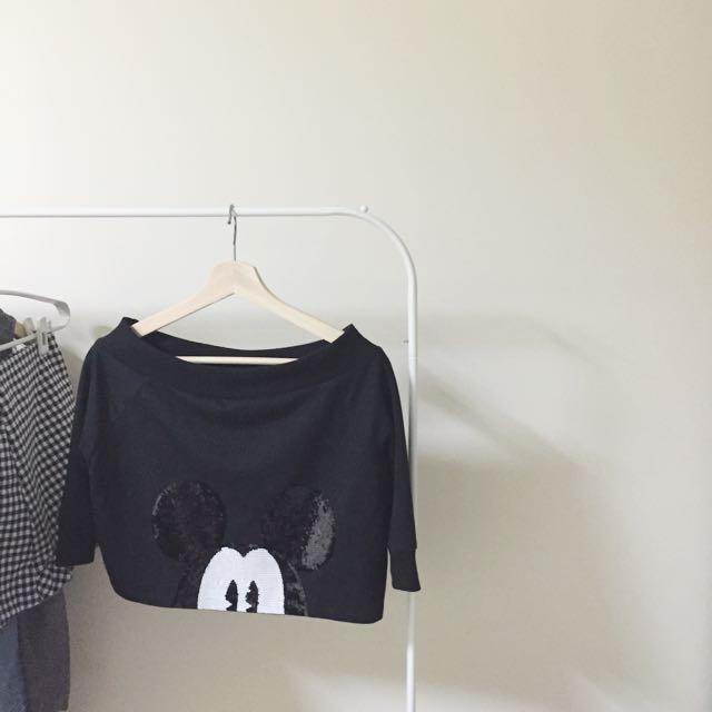 超短款mickey短袖t