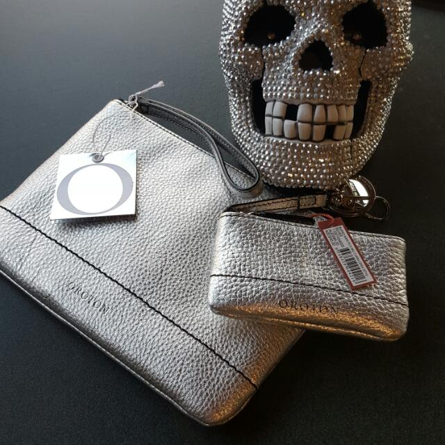 Oroton Large Silver Zip Pouch  Brand New Comes With Free Mini Pouch Keyring