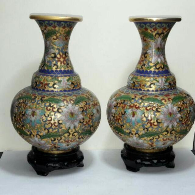 Pair Of Chinese Cloisonne Vase Golden Design Vintage