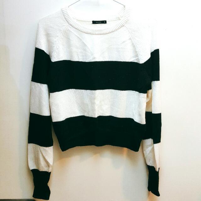 PAZZO 黑白條紋針織短版上衣