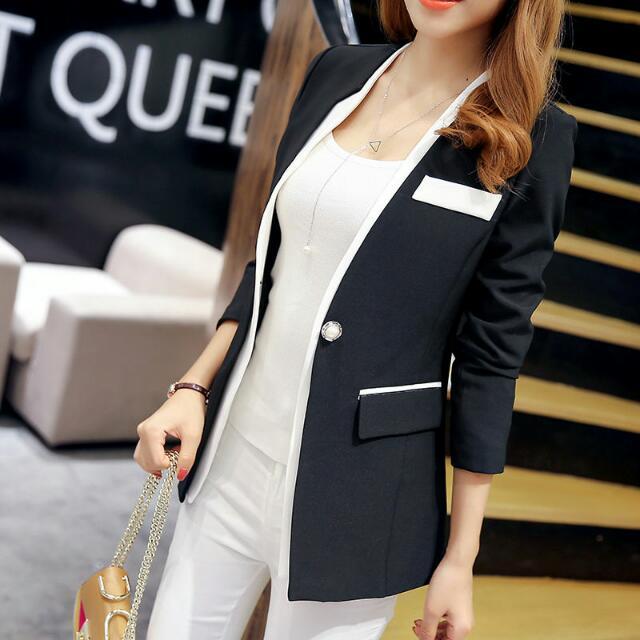 Pearl Button Asymmetrical Collar Blazer (Black) - Size S