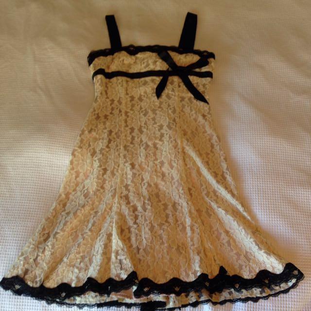 Review Dress Cream And Black