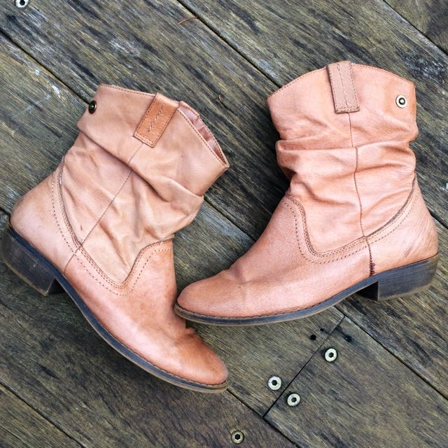 Steve Madden Tan Leather Ankle Boot