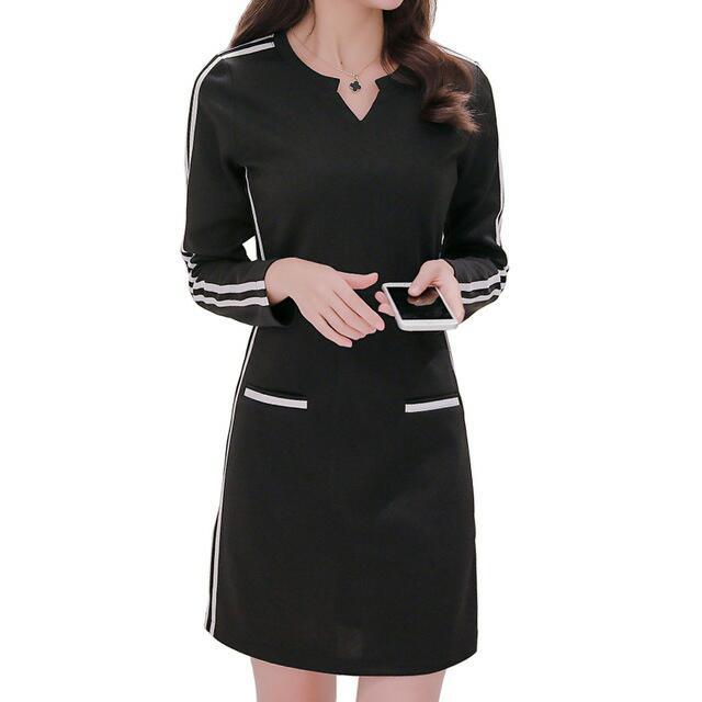 Striped V-Neckline Dress (Black) - Size S