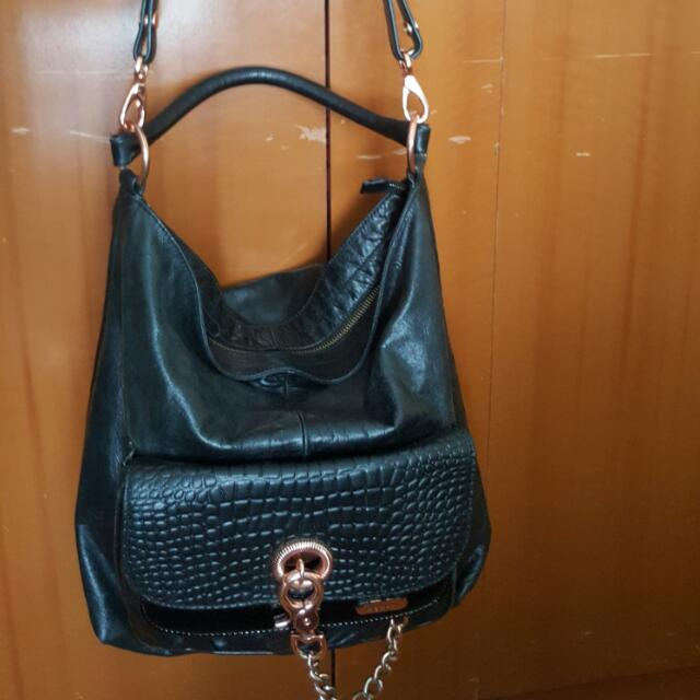 Stunning Genuine MIMCO VICTORIAN BUCKET BAG in Black & Rose Gold + Dustbag rrp 599