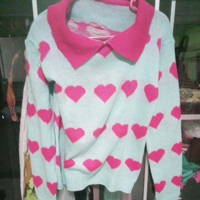 Sweater Rajut Love Pink Biru