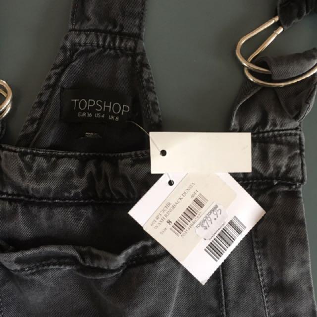 Topshop Black wash Dungaree Shorts