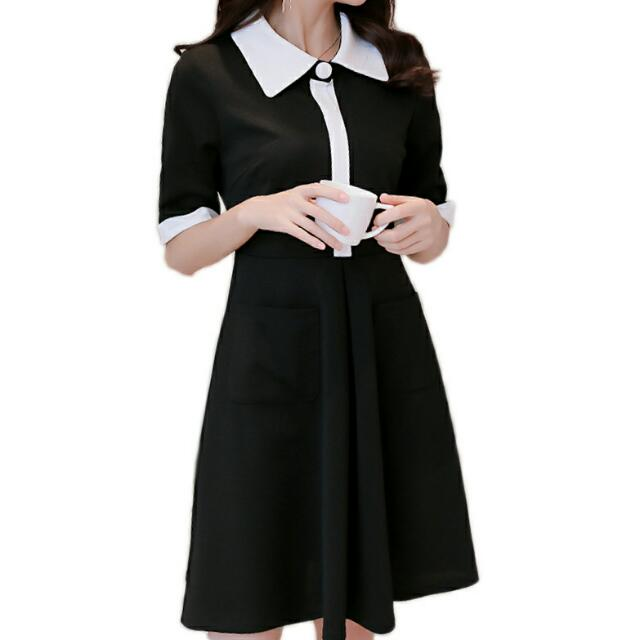 White Collar Button A-Line 3/4 Sleeve Dress (Black) - Size S