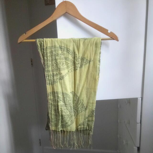 Yellow Green Scarf With Tassel