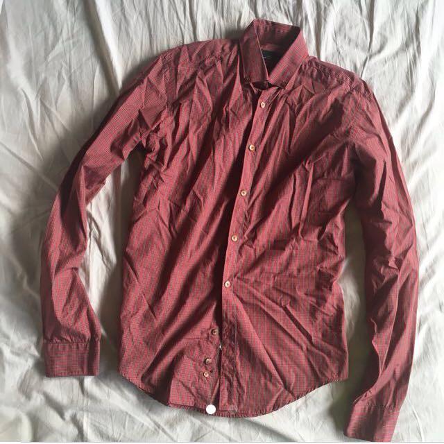 Zara Red Checkered Long Sleeves