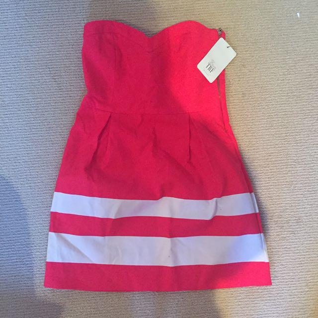 Zara TRF Strapless, Size L, Coral Dress