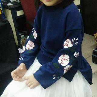 Girls Korean Fashion Flower Embroidered Blouse