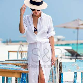 Shapes & curves White Summer Beach Cover Up Maxi Dress