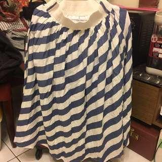 藍白條紋長裙