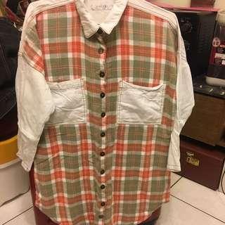 Minipink 拼接格子襯衫
