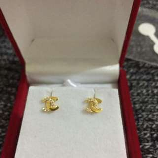 Chanel Gold Earrings With Stone