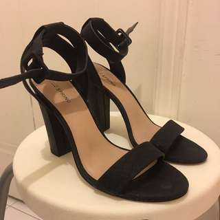 Black Strappy Sandal Heels (size 8)