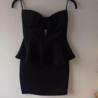 Black Strapless Peplum Dress