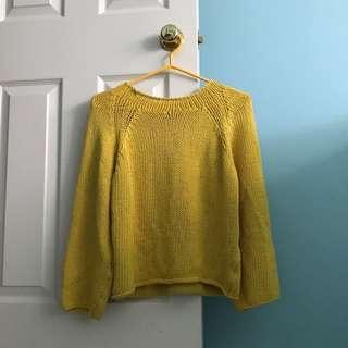 Massimo Dutti yellow knit sweater