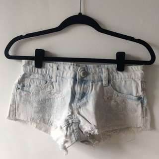 Lace Detail Denim Shorts