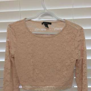 Lace Long Sleeve Crop Top