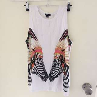 Colourful zebra muscle singlet size XS