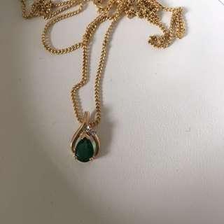 9ct Gold Emerald And Diamond Pendant