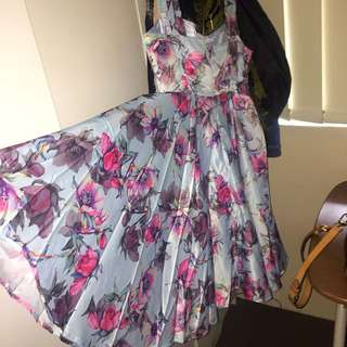 Blue and pink Floral Dress