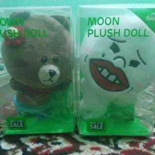 brown and moon plush doll