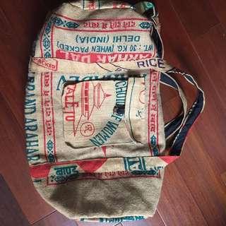 國外買的米袋行李袋