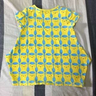 Why&1/2💕貓咪魚圖案黃藍色造型上衣