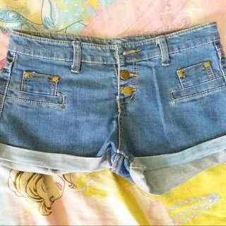 Midwaist Blue Hot Pants