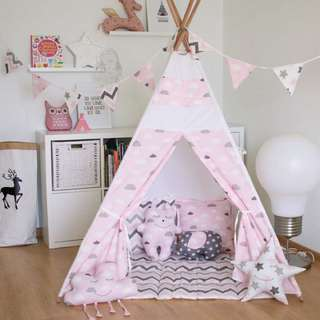 Scandinavian Teepee In Light Pink With Grey And White Clouds