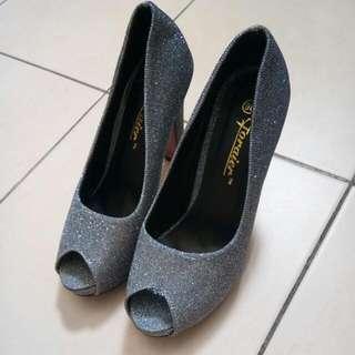 Grey Glitter Heels Shoes