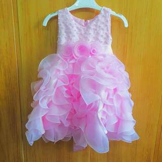 Pink Ruffled Long Gown For Infant/Toddler