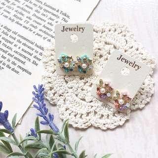 韓國製 繽紛小花珍珠耳環