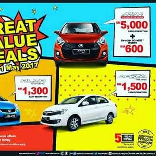 Promosi Rebate Bulan May Ini. Hanya Di Shari Perodua. Call/wassap 0177950407