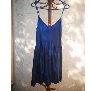 TOPSHOP Blue Silk Slip Dress - NWT