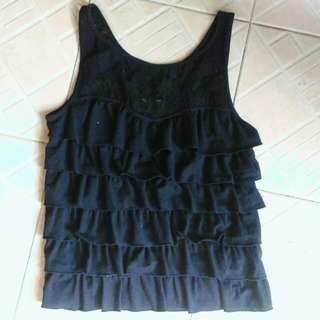 Lace Ruffle Top Hollister Size S
