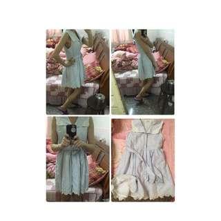 日系 森女 洋裝 排釦 綁帶
